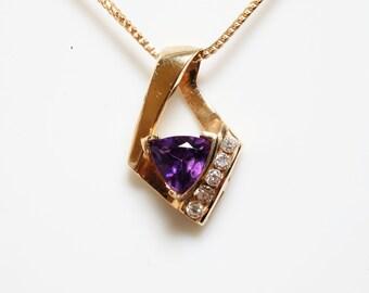 Amethyst & Diamond Pendant in 14K yellow gold