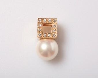 Pearl & Diamond Pendant in 14K Yellow Gold