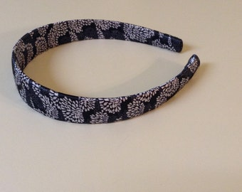 Black and White Floral Headband
