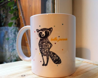 mug raccoon beautiful day