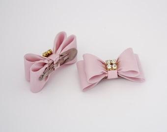 Light Pink Baby Bow Hair Clip, Bow Hair Clip, Pink Hair Clip, Rhinestone Hair Clip, Girl Hair Clip, Baby Hair Clip, 649
