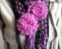 Crochet scarf/ Crochet lace scarf/ Crochet Brooch Scarf/ Purple Black scarf/ Christmas gift for her/ Crochet lariat scarf/ Summer Scarf