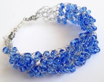 Blue silver bracelet/ Crochet wire bracelet/  Crochet bracelet/ Handmade wire crochet jewelry/Boho wire bracelet/  Crochet wire Jewelry