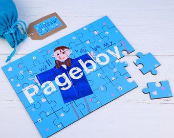 Page Boy  Wedding  jigsaw Wooden Secret message Illustrated Wedding Will You Be