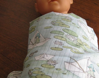 Babies, Belle and Boo printed muslin Paper Boats baby wrap
