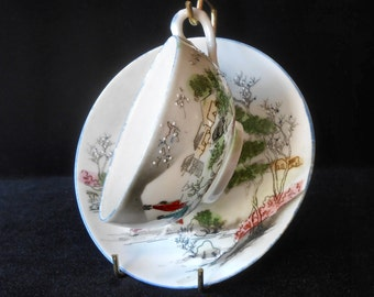 Nippon Porcelain Cup & Saucer Hand Painted Moriage Vintage circa 1920s