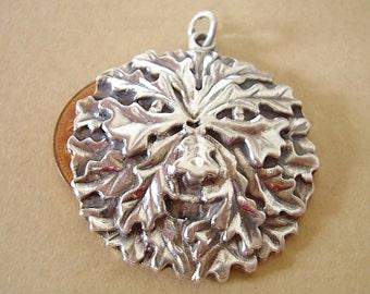 Sterling Silver Oak Leaf Green Man Pendant