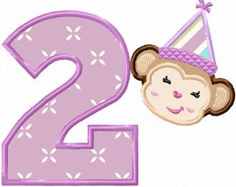 Birthday Monkey No. 2  Applique Machine Embroidery DESIGN NO.105