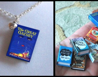 The Great Gatsby with Tiny Heart Charm -Micro Mini Book Necklace