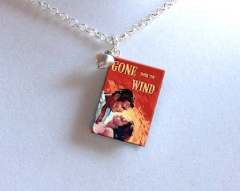 Gone With The Wind with Tiny Heart Charm - Miniature Book Necklace
