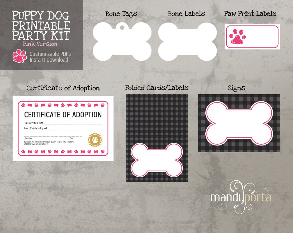 Pink Puppy Dog Printable Birthday Party Kit: Food Labels
