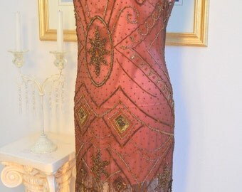 1920s Style Wine Beaded ROSE Flapper Dress-S, m, l, XL or Plus sizes
