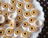 Doll Eyes, Small Eyeball Cabochons, Resin Cabochons, Yellow Eyeball Cabochons 16mm ( 10 pieces ) Gothic, Creepy, Zombie