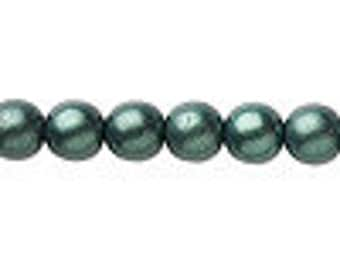 Czech Glass Pearl - 8mm - Dark Green Satin - Pack 20