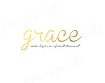 Gold Foil Grace Printable, Printable Wall Art, 8x10, Digital Image