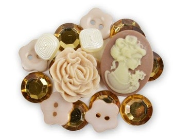 Vintage Inspired Buttons and Gems Package of 18