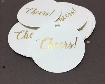 Gold Foil Cheers Tags, Wedding Favor Tags, Party Tags (SET OF 25)