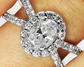 1.55ct Estate Vintage Oval Diamond Engagement Wedding 14k White Gold Ring EGL USA