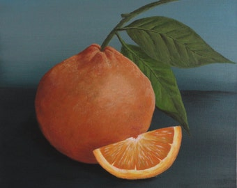 "Print of ""The Orange Slice,"" original acrylic painting"