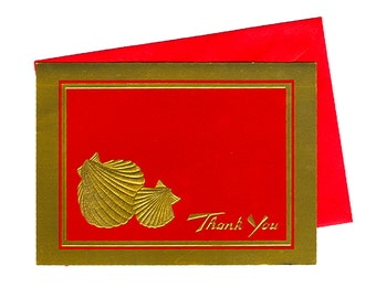 Vintage Red and Gold Seashell Thank You Cards - Set of 10