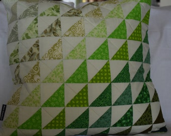 REDUCED  Handmade Patchwork quilted Cushion cover in graduated shades of green.