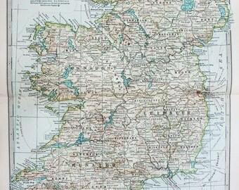 Antique Map : Ireland, Dublin. Encyclopedia Britannica, 1890s (16) SEE DESCRIPTION