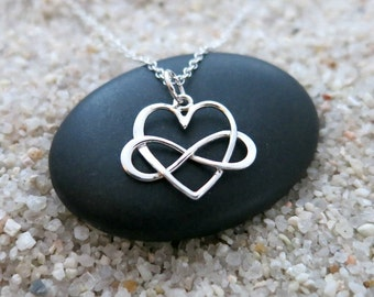 Infinity Heart Necklace, Sterling Silver Infinity Heart Charm, Love Jewelry, Infinity Jewelry