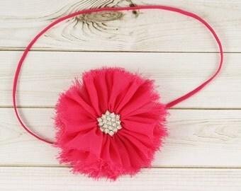 Shabby Chiffon Flower Headband, Hot Pink Baby Headband, Shabby Chic Headband, Flower Girl Headband, Newborn Headband, Rhinestone Headband