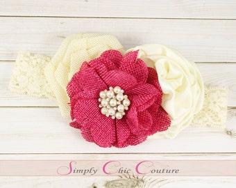 Fuchsia & Ivory Rustic Burlap Headband, Burlap Lace Headband, Flower Girl Headpiece, Wedding Headdress, Country Headband, Burlap Headband