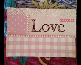 Pink Cottage Love you Card