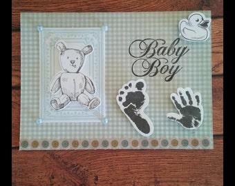 Blue Teddy Bear Baby Boy Card