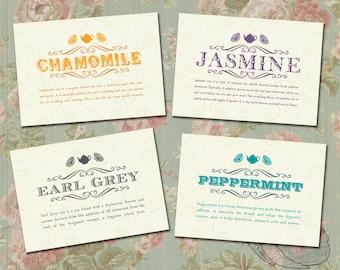 Vintage Tea-Theme Bridal Shower Table Cards/ DIY Printable