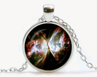 The Butterfly Nebula Glass pendant. Galaxy necklace. Space, universe jewelry, birthday gift