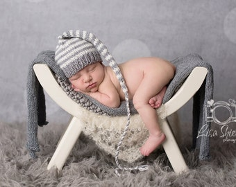 Baby Stocking Hat PaTTeRN KNiTTING TUTORiAL Stripe MuNCHKiN CaP PHoTO PRoP Knit Long Tail Pixie Beanie PDF PaTTeRN Newborn - 12 month ToQUE