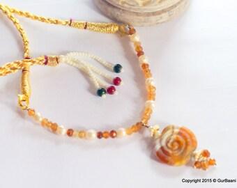 "Hessonite garnet, freshwater Pearls, Lampwork delicate necklace - ""Glow-in-the-dark"""