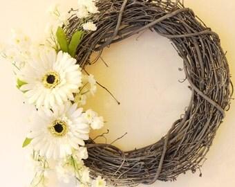 Summer Spring Wreath Shabby Chic Wreath, Spring wreath, White Gerbera Gray wreath, Handmade wreath