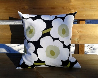 Pillow cover made from Marimekko fabric, pillow case or sham, cushion cover, Scandinavian modern, black and white