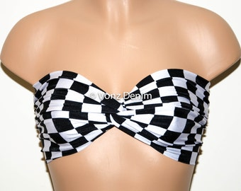 Black and White Checkered Spandex Bandeau, Beach Bra Swimsuit Top, Twisted Top Bathing Suits, Spandex Bandeau Bikini