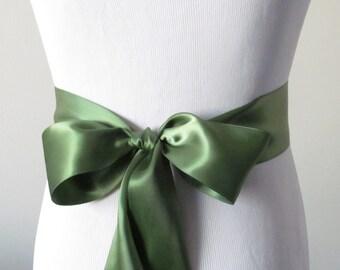 Moss Ribbon Sash / Double Faced Ribbon Sash / Bridal Sash  /Bridal  / Moss