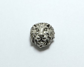15pcs Lion Head Beads in Antique Silver, Animal, Zoo, Tiger Beads, Side Drilled Metal Beads #SD-S7506