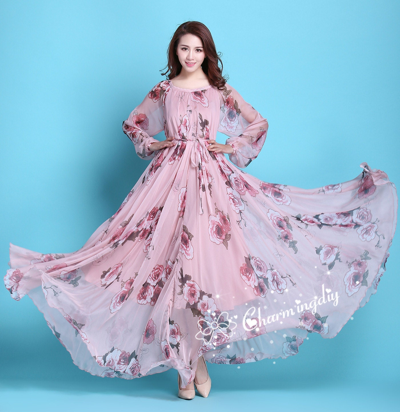 60 colors chiffon pink floral flowber autumn long sleeve party zoom ombrellifo Image collections