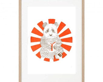 Little Panda_Children's art screen print orange