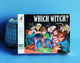 Which Witch Game  - Dollhouse Miniature - 1:12 scale - Game Box and Game Board -  1960s Dollhouse Halloween Witch Haunted House game toy