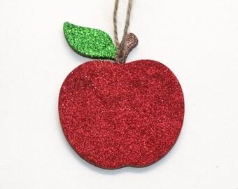 Apple Decoration, Wooden Ornament, Glitter Decoration, Apple Ornament, Hanging Decoration, Wooden Decoration, Glitter Apple, Red Apple