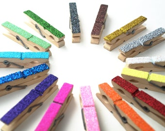 Wooden Pegs, Memo Pegs, Stationary, Paper Tidy, Glitter, Desk Tidy, Peg Decorations, Upcycled Vintage Pegs, Hanging Pegs, Mismatch, Rainbow