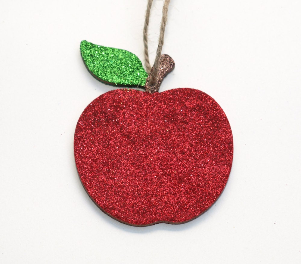 Apple decoration wooden ornament glitter decoration apple for Apple decoration