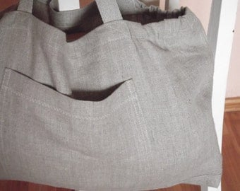 Organic linen beach bag market linen bag tote grey washed linen shopping bag