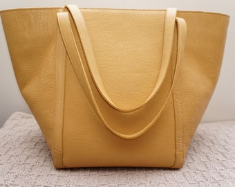 Large Yellow Leather Bag / Women Shoulder Bag / Gold Tone Textured Tote Bag / Yellow Bag