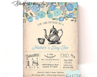 Mother's Day Invitation // Mother's Day Tea Party Invitation // Vintage Peach Background // Tea Party Invite // Printable No.901