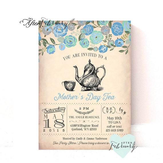 items similar to mother 39 s day invitation mother 39 s day tea party invitation vintage peach. Black Bedroom Furniture Sets. Home Design Ideas